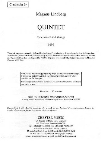 Product Cover for Quintet for Clarinet and Strings
