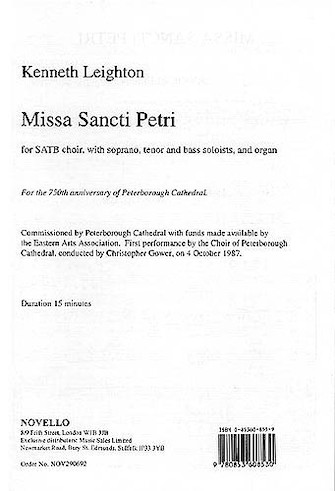 Product Cover for Kenneth Leighton: Missa Sancti Petri