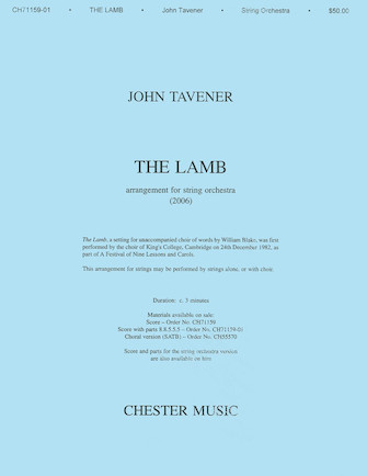 Product Cover for John Tavener: The Lamb (String Orchestra Version) Score