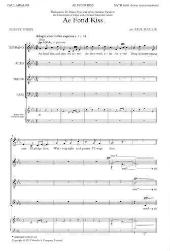 Ae Fond Kiss : SATB Divisi : Paul Mealor : Paul Mealor : Sheet Music : 14043689 : 888680089962