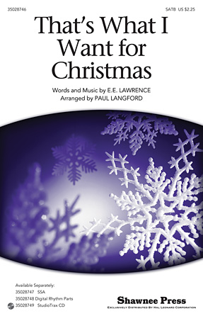 That's What I Want For Christmas : SATB : Paul Langford : Ella Fitzerald :  1 CD : 35028746 : 884088870553 : 148030526X