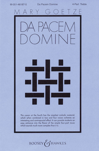 Da Pacem, Domine : SSAA : Mary Goetze : Sheet Music : 48004007 : 073999540482