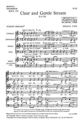 Clear and Gentle Stream : SATB : Gerald Finzi : Sheet Music : 48009716 : 073999550047