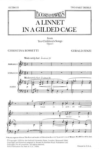 A Linnet in a Gilded Cage : 2-Part : Gerald Finzi : Gerald Finzi : Songbook : 48010819 : 073999158823