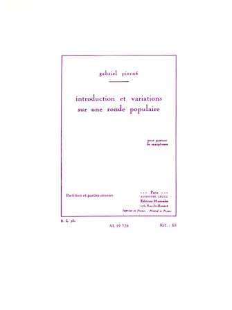 Product Cover for Introduction et Variations sur une Ronde Populaire