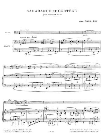 Product Cover for Sarabande et Cortege pour Basson et Piano