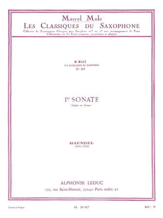 Product Cover for Sonata No.1, Op.1 No.1a (classiques No.87) (saxophone-alto & P