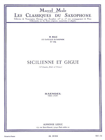 Product Cover for Sicilienne And Gigue, Arranged For Saxophone By Marcel Mule