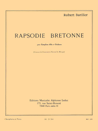 Product Cover for Breton Rhapsody, For Alto Saxophone And Piano