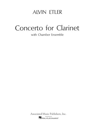 Product Cover for Concerto for Clarinet and Chamber Ensemble (1962)
