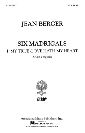 Product Cover for My True Love Hath My Heart From Six Madrigals A Cappella