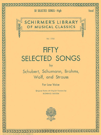 Product Cover for 50 Selected Songs by Schubert, Schumann, Brahms, Wolf & Strauss Schirmer Library of Classics Vol1755
