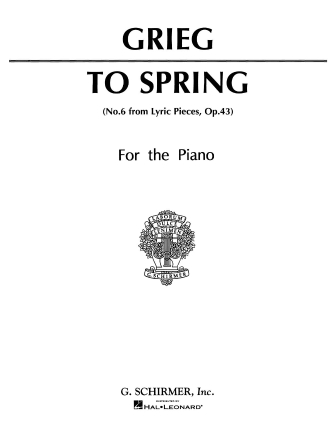 Product Cover for To Spring (No. 6 from Lyric Pieces, Op. 43)