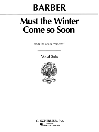 Product Cover for Must the Winter Come So Soon (from Vanessa)