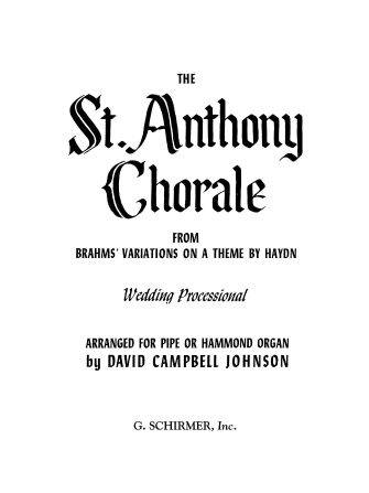 Product Cover for St. Anthony Chorale (from Variations on a Theme by Haydn)