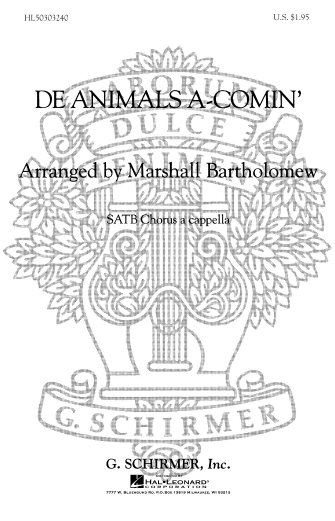 Product Cover for De Animals A Comin' Negro Spiritual A Cappella