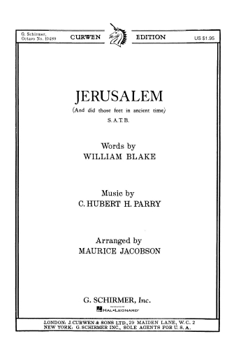 Product Cover for Jerusalem And Did Those Feet In Ancient Time Key Of F