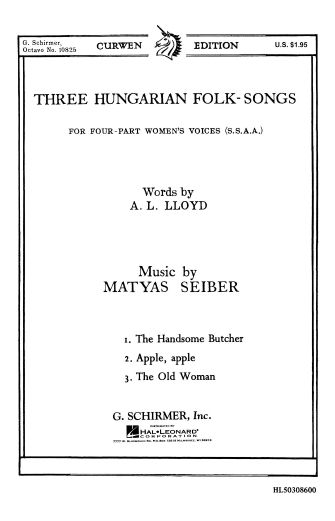 Product Cover for Three Hungarian Folk Songs A Cappella Handsome Butcher Apple The Old Woman