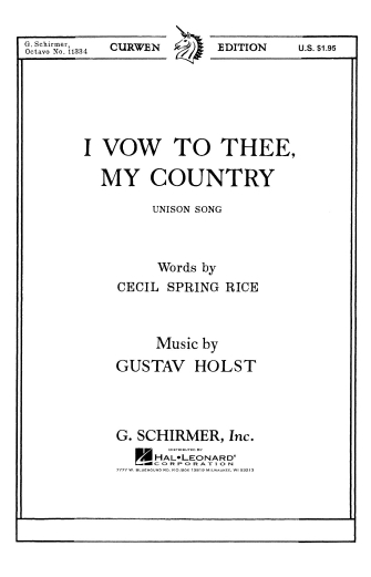 Product Cover for I Vow To Thee My (Unison) Country