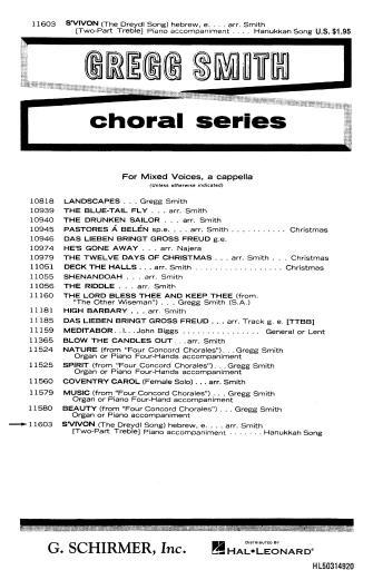 S'vivon (The Dreydl Song) : 2-Part : Gregg Smith : Gregg Smith Singers : Sheet Music : 50314920 : 073999149203