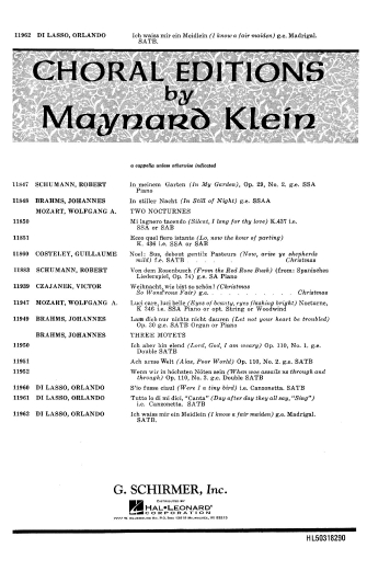 Product Cover for Ich Waiss Mir Ein Meidlein (I Know A Fair Maiden) TB A Cappella Arr. Klein