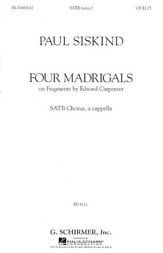 Four Madrigals : SSAATTBB : Paul Siskind : Paul Siskind : Dale Warland Singers : Sheet Music : 50483632 : 073999908923 : 0634010794