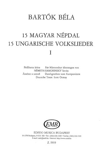 Product Cover for 15 Hungarian Folksongs 1
