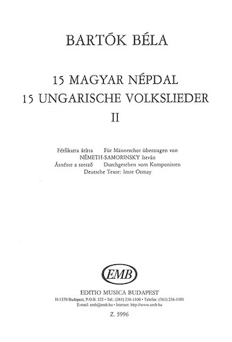 Product Cover for 15 Hungarian Folksongs 2