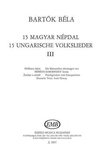 Product Cover for 15 Hungarian Folksongs 3